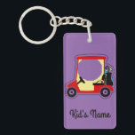 "Golf cart keychain<br><div class=""desc"">A red gold cart seen sideways,  complete with bag and clubs,  without people,  