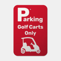 Golf Cart Parking Design Metal Sign