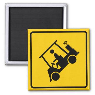 Golf Cart Traffic Highway Sign 2 Inch Square Magnet