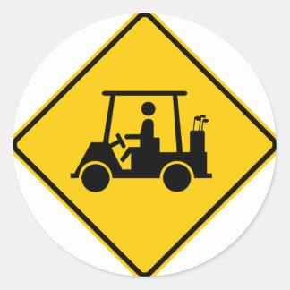 Golf Cart Traffic Highway Sign Classic Round Sticker