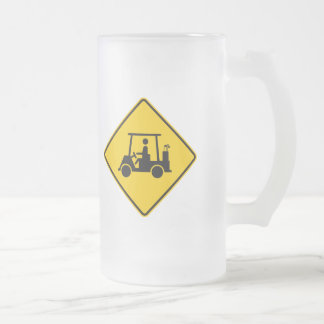 Golf Cart Traffic Highway Sign Frosted Glass Beer Mug