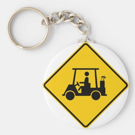 Golf Cart Traffic Highway Sign Keychain