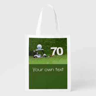 Golf cart with glass of beer on green for golfer g grocery bag