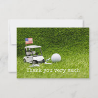 Golf cart  with golf ball and American flag Thank You Card