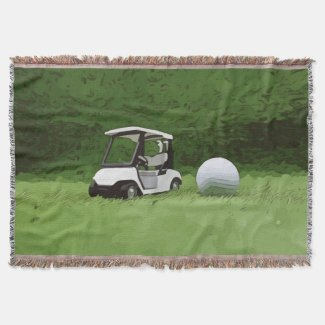 Golf cart with golf ball are on green grass throw