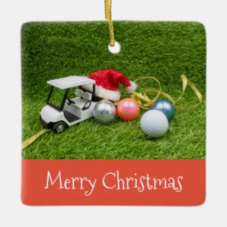 Golf cart with golf balls and  Christmas Gifts Ceramic Ornament