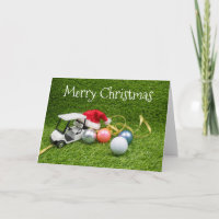 Golf cart with golf balls and gift Christmas Card