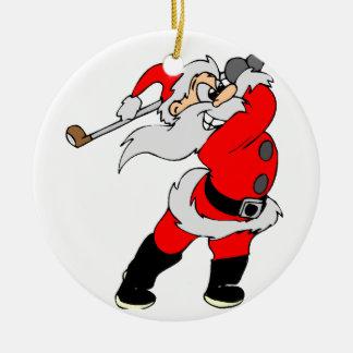 Golf Cartoon Christmas Santa Double-Sided Ceramic Round Christmas Ornament