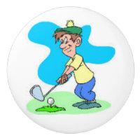 Golf Cartoon Figure on Door Knobs and Pulls