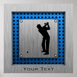 Golf cepillado de la mirada del metal póster