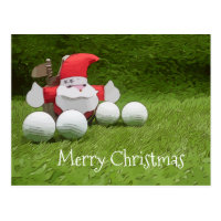 Golf Christmas card with Santa Claus and golf ball