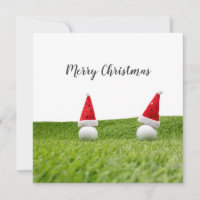 Golf Christmas card with Santa hat on green