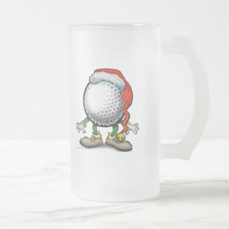Golf Christmas Frosted Glass Beer Mug