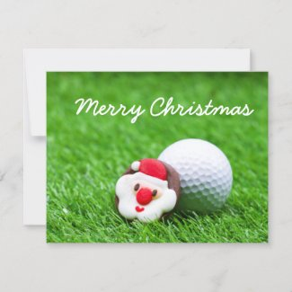 Golf Christmas Holiday card with Santa on green