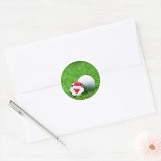 Golf Christmas Holiday card with Santa on green Classic Round Sticker