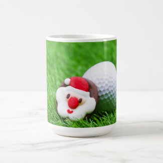 Golf Christmas Holiday card with Santa on green Coffee Mug