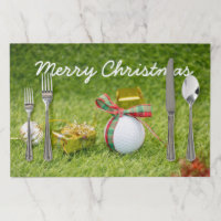 Golf Christmas Holiday golf ball and ornament Paper Placemat