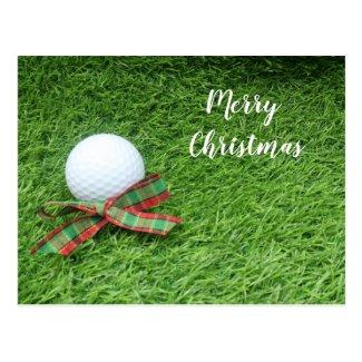 Golf Christmas Holiday with golf ball and ribbon Postcard