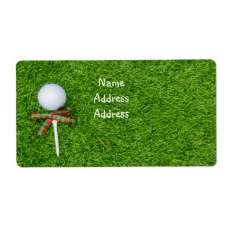 Golf Christmas holiday with golf ball and tee Label