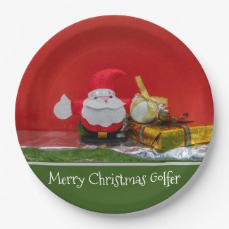Golf Christmas Holiday with Santa Claus and gifts Paper Plate