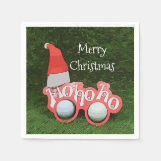 Golf Christmas Holiday with Santa Claus Glasses Napkins