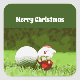 Golf Christmas Holiday with Santa Claus on green Square Sticker