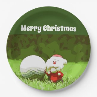 Golf Christmas Holiday with Santa Claus Paper Plate