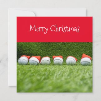 Golf Christmas Holiday with Santa hat on green