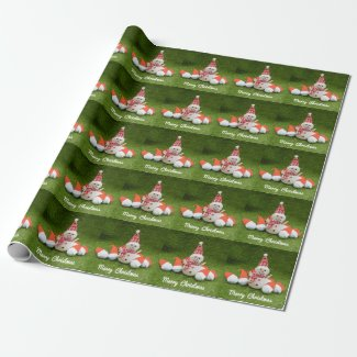 Golf Christmas Holiday with snowman and  Santa hat Wrapping Paper