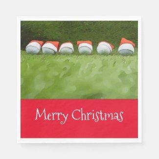 Golf Christmas Napkin with golf ball and Santa Hat