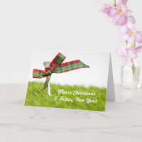 Golf Christmas  & New year with golf ball and pine Card