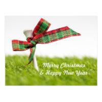 Golf Christmas  & New year with golf ball and pine Postcard