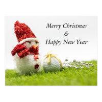Golf Christmas & New year with golf ball  Snowman Postcard