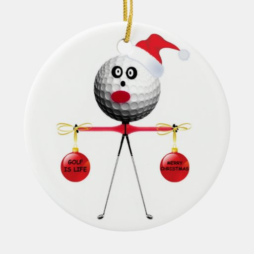 Golf Christmas Double-Sided Ceramic Round Christmas Ornament