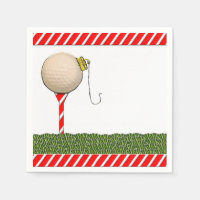 Golf Christmas Paper Napkin