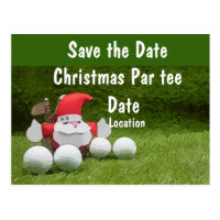 Golf Christmas Party save the date Santa golfing Postcard