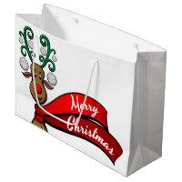 Golf Christmas Reindeer Large Gift Bag
