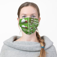 Golf Christmas  Santa Claus  golfer and New Year Adult Cloth Face Mask