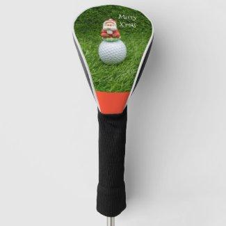 Golf Christmas Santa Claus sits on golf ball Golf Head Cover