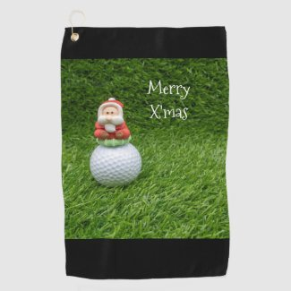 Golf Christmas Santa Claus sits on golf ball Golf Towel