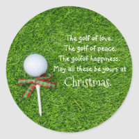 Golf Christmas sticker with golf ball and tee