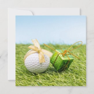 Golf Christmas with golden ribbon on green grass Holiday Card