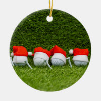 Golf Christmas with golf ball and Christmas Hat Ceramic Ornament