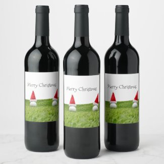 Golf Christmas with golf ball and Santa hat Wine Label