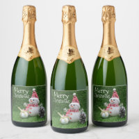 Golf Christmas with golf ball and Snowman Champagne Label