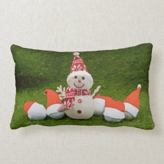 Golf Christmas with golf ball and Snowman Lumbar Pillow