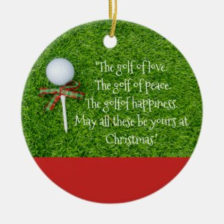 Golf Christmas with golf ball and tee with ribbon Ceramic Ornament