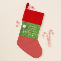 Golf Christmas with golf ball and tee with ribbon Christmas Stocking
