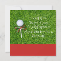 Golf Christmas with golf ball and tee with ribbon Holiday Card