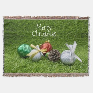 Golf Christmas with golf ball ornaments on green Throw Blanket